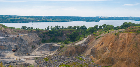 dnepr: Quarry beside big river Dnepr near Dnepropetrovsk city, Ukraine