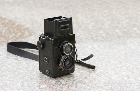format: Old medium format photo camera closeup Stock Photo