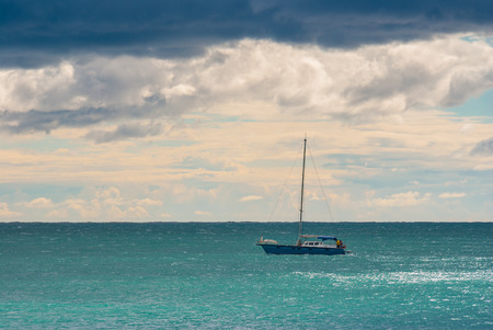 sailer: Before the storm marine on a Black Sea Stock Photo