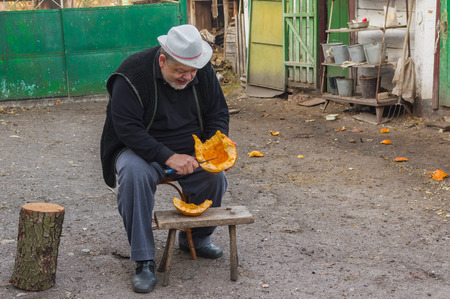 peck: Ukrainian peasant slices pumpkin for poultry could peck it later Stock Photo