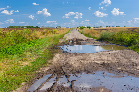 macadam: An old destroyed road to farmstead, central Ukraine