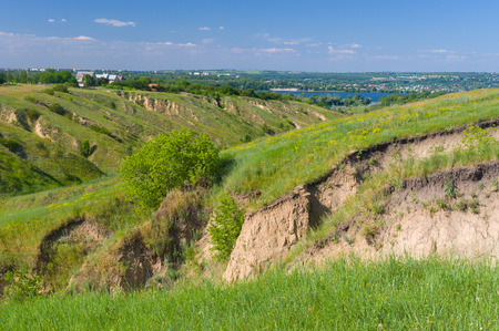 dnepr: Summer landscape near Dnepr river in Dnepropetrovsk city area, Ukraine Stock Photo