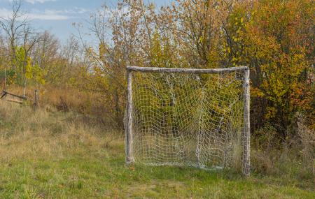 rural area: Old football gateway in Ukrainian rural area