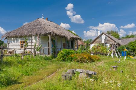 farmstead: An ancient Ukrainian farm-stead near Dikanka village, Central Ukraine Stock Photo