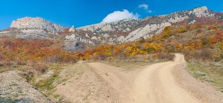 earth road: Earth road in autumnal mountains, mountain pasture Demerdzhi, Crimean peninsula