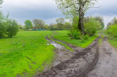 garden settlement: Clasic landscape with dirty road in rural Ukrainian area at spring season . Its overcast and rainy weather Stock Photo