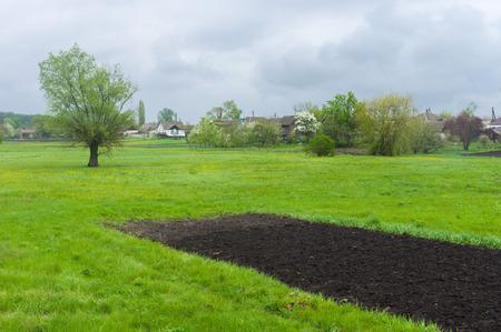 garden settlement: Country landscape at rainy day, central Ukraine Stock Photo