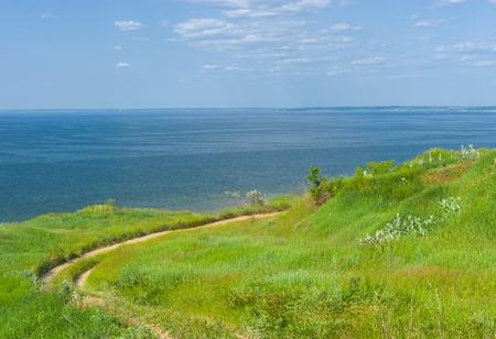 dnepr: Summer landscape with Kakhovka Reservoir located on the Dnepr River, Ukraine