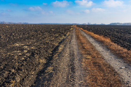 road autumnal: Agricultural landscape with earth road among fields in late autumnal season in Poltavskaya oblast, Ukraine