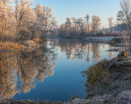 placid water: Beautiful morning on a Vorskla river at autumnal seasonin Sumskaya oblast, Ukraine