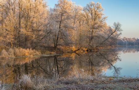 placid water: Frosty morning on a Vorskla river at late autumnal season, Sumskaya oblast, Ukraine