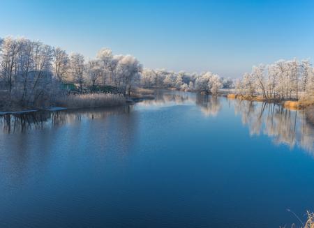 placid water: Beautiful morning on a Vorskla river at late autumnal season, Sumskaya oblast, Ukraine Stock Photo
