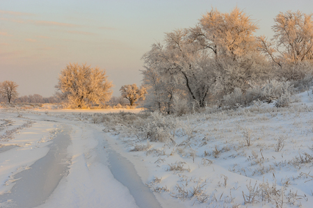 earth road: Country landscape with earth road at winter morning in central Ukraine Stock Photo