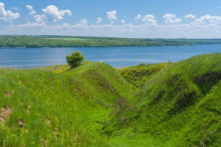 gully: Spring landscape with ravine near big river Dnepr, near Dnepropetrovsk city, Ukraine
