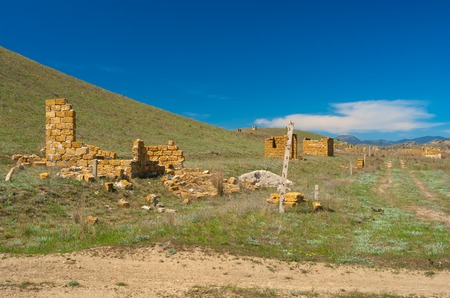 ruinous: Unfinished small constructions  - typical Eastern Crimean landscape a Meganom cape