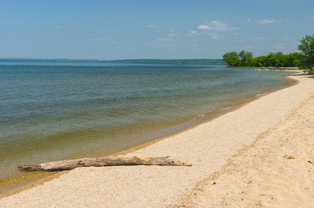 dnepr: Empty beach on a Dnepr river at spring season, Ukraine Stock Photo