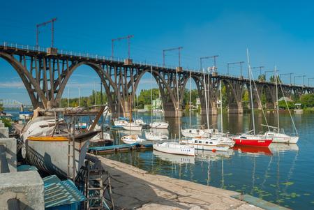 anchorage: Dnepropetrovsk, Ukraine - September 29, 2012: City yacht-club anchorage located at Merefo-Hersonsky bridge