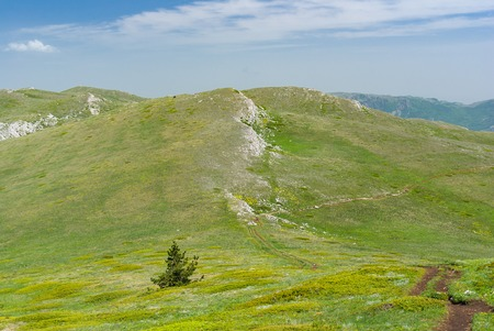 massif: Spring landscape in Crimean mountainous massif Chatyr-Dah Stock Photo