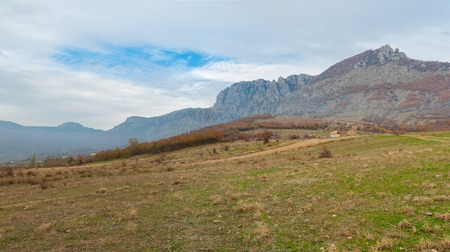 annexed: Panoramic mountains landscape at autumn season Stock Photo