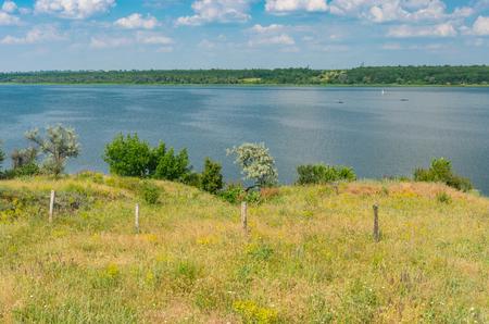 placid water: Rural landscape with river Dnepr at summer season, central Ukraine near Dnepropetrovsk city