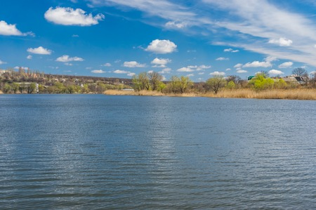 rushy: Early spring landscape with small river Sura that flows into Dnepr water-way, central Ukraine Stock Photo