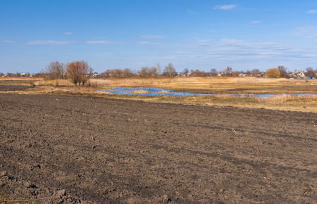 plough land: Spring landscape with plough-lands in Poltavsk oblast, central UKraine Stock Photo