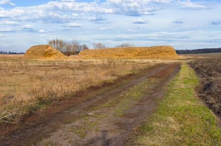 hayrick: Early spring landscape in Ukraine - earth road to haystacks Stock Photo