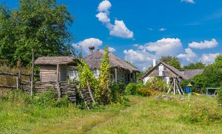 farmstead: Summer landscape in an ancient farm-stead Proni in Poltavskaya oblast, Ukraine Stock Photo