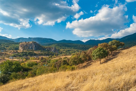 red rock: Landscape in Crimean mountains near Red rock - a place for rock-climbers gathering