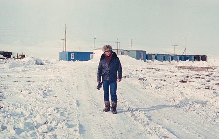 prospector: Soviet gold prospector on an only street of small gold-prospectors settlement in tundra