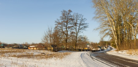 clody sky: Panoramic winter landscape in Ukrainian rural area - Poltavsk region Stock Photo