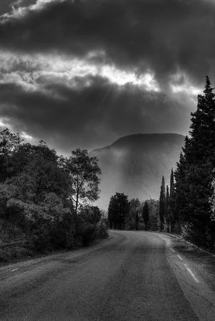 inclination: Black and white landscape in Crimea near Ayu-Dag mountain