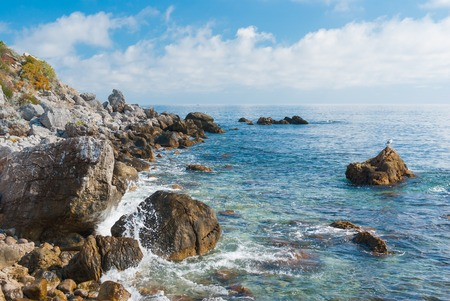 'black sea': Black Sea wild water-scape - Crimean shore Stock Photo