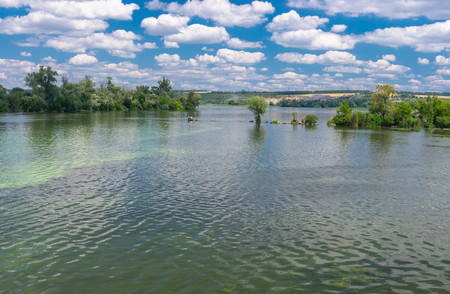 dnepr: Ukrainian summer landscape with Dnepr river near Dnepropetrovsk city Stock Photo