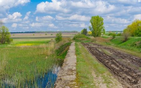 wide  wet: Spring landscape with old bridge over Kilchen river near Polyvanivka village, central Ukraine