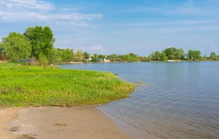 riverbank: Riverside of Dnepr river in central Ukraine at spring season