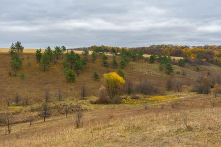 inclination: Autumnal hilly landscape in Sumskaya oblast, Ukraine