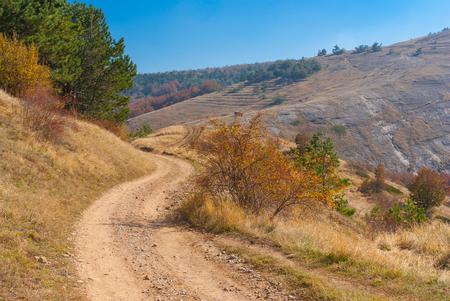 earth road: Fall Landscape with earth road in mountain pasture Demerdzhi, Crimean oeninsula