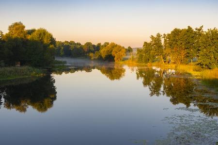 rushy: Tranquil landscape on a Vorskla river at summer morning in Ukraine