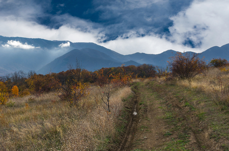 Evening landscape in Crimean mountains at fall season