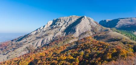 Bald Ivan mountain under morning light at autumn season - mountain pasture Demerdzhi, Crimea, Ukraine. Stock Photo