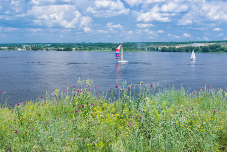 Summer landscape on a Dnipro river near Dnipro city