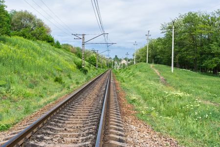 Ukranian railroad landscape at spring season. Stock Photo
