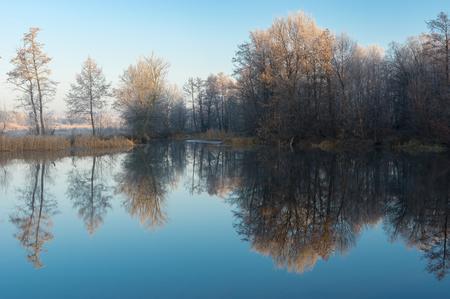 Beautiful morning on a Vorskla river at late autumn, Sumskaya oblast, Ukraine