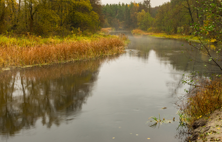 Landscape with Vorskla river at autumnal season in Sumskaya oblast, Ukraine