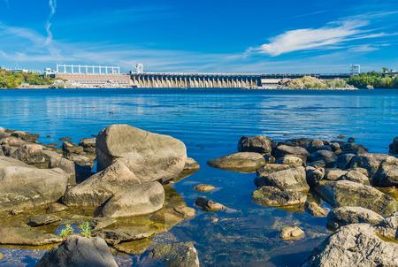 hydroelectric station: View from Khortytsia island to Hydroelectric Station on the Dnieper River, Zaporizhia, Ukraine.