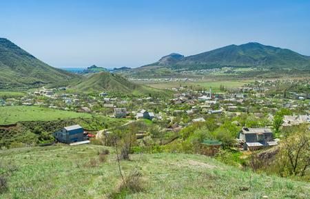 sudak: View on valley of where Sudak town located, Black Sea shore in eastern Crimea, Ukraine. Stock Photo
