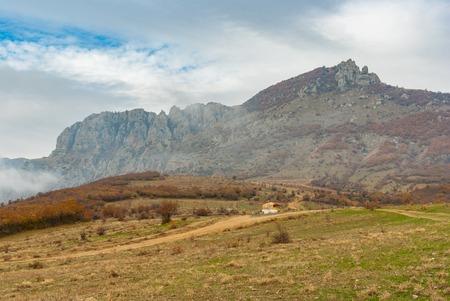 View on mountain pasture Demerdzhi, Crimean peninsula Stock Photo