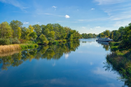 Small Ukrainian river Oril (left inflow of biggest river Dnepr) at sunny autumnal day. Stock Photo