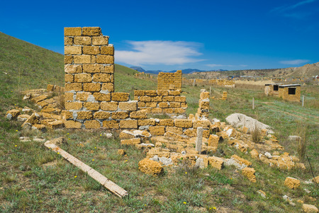 Typical Eastern Crimean landscape - unfinished small constructions. Stock Photo